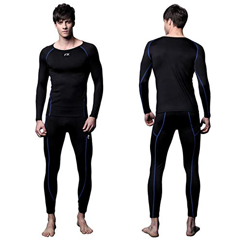 FITEXTREME Mens MAXHEAT Soft Fleece Long Johns Thermal Underwear Set Black M