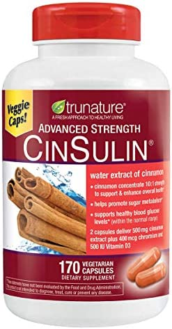 Trunature Advance Strength Cinsulin Water Extract Cinnamon 170 Vegetarian Capsules