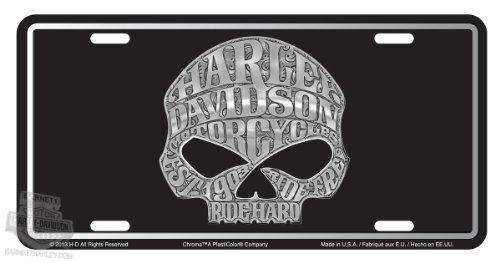 Harley-Davidson Willie G Skull Stamped Metal Tag Front - Plate License Metal Davidson Harley