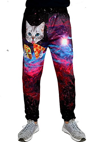 Taco Suits - Leapparel Unisex Funny Pizza Cat Tacos Print Galaxy Elastic Waist Tracksuit Sweatpants Sports Gym Jogger Pants L