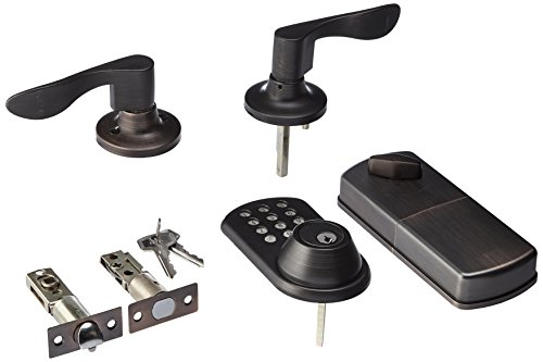 MiLocks TFL-02OB Digital Deadbolt Door Lock and Passage Lever Handle Combo with Keyless Entry via Keypad Code for Exterior Doors, Oil Rubbed Bronze MiProducts Corporation