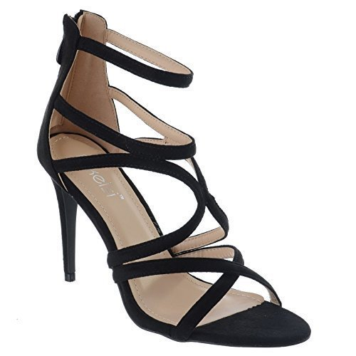 Miss Image UK New Ladies Womens High Stiletto Heel Gladiator Caged Cut Out Strappy Sandals Shoes Size Black Faux Suede Hm0urQom