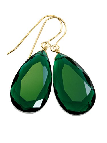 (14k Yellow Gold Filled Green Simulated Emerald Earrings Faceted Large Teardrops Simple Briolette Drops )