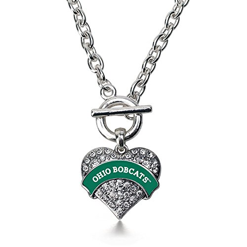 Necklace Heart Inspired Silver (Inspired Silver Ohio University Bobcats Pave Heart Toggle Necklace Clear Crystal Rhinestones)