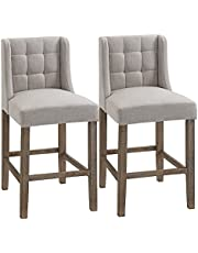 HOMCOM Modern Counter Bar Stools Tufted Upholstered Counter Chairs Set of 2 for Kitchen, White