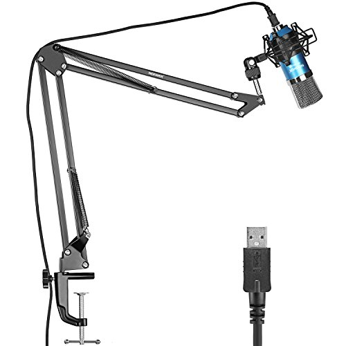 Neewer USB Microphone for Windows and Mac with Suspension Scissor Arm Stand, Shock Mount and Table Mounting Clamp Kit for Broadcasting and Sound Recording (Blue)