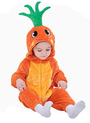 Tonwhar Baby Animal Cat Onesie Romper Halloween Costume (90 Ages 12-18 Months, Carrots) -