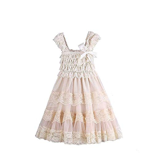 CVERRE lace Flower Rustic Burlap Girl Baby Country Wedding Flower Dress Champagne (CH, -