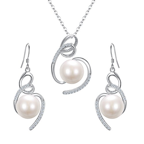Silver Swirl Charm - BriLove Women 925 Sterling Silver CZ Freshwater Cultured Pearl Ribbon Swirl Necklace Earrings Set Clear