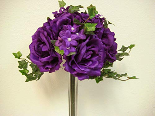 Purple Rose Stephanotis Bridal Bouquet Wedding Artificial Silk Flower 91723 PU