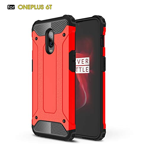 MYLB OnePlus 6T Case,Hybrid Rugged Dual Layer Armor Grip with Rugged Yet Resilient Shock Absorption Design for OnePlus 6T Smartphone (Red)