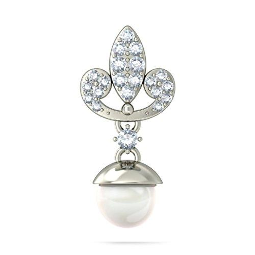 18K Or Blanc 0,38CT TW Round-cut-diamond (IJ   SI) et blanc perle Pendants d'oreilles