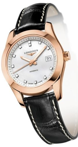Longines Conquest Classic Automatic 18k Solid Gold Diamond Markers Mother of Pearl Back Exhibition Women's Watc