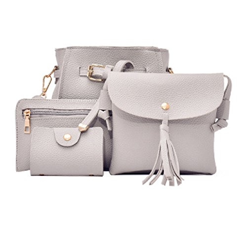 Small Bag Mobile New Tassel Shoulder Four Bag Purse 4 Bag Messenger Women's Sets Bucket Mother Phone vOvx46wRq
