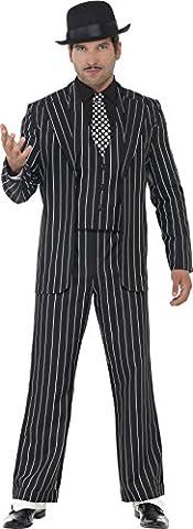Smiffy's Men's Vintage Gangster Boss Costume, Jacket, Tie, Waistcoat Mock Shirt and pants, 20's Razzle (Nero Gessato Camicia)