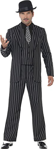 Smiffy's Men's Vintage Gangster Boss Costume, Jacket, Tie, Waistcoat Mock Shirt and pants, 20's Razzle Dazzle, Serious Fun, Size L, 23042