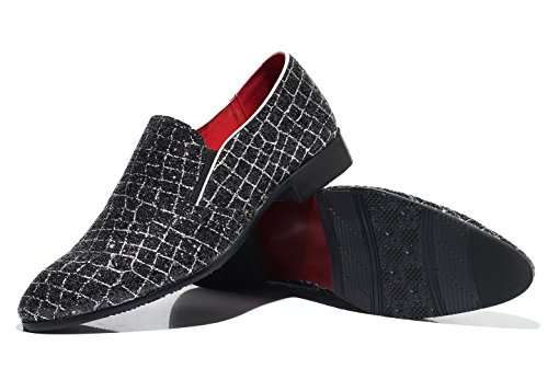 Mens slip Lattice Dress Loafers Black Glitter Sparkling Slipper Party Non Shoes Smoking fAxfnBr