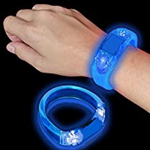 12 PC LED Light Up Sound Activated Bangle Bracelets Wristbands - Various Colors by Mammoth Sales (Blue)