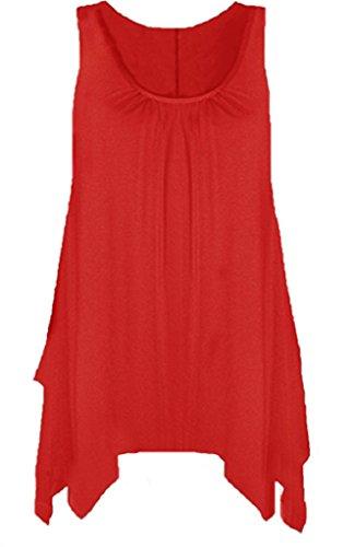 Boutique - Camisa sin mangas para mujer, con dobladillo y acampanada, disponible en tallas grandes Rosso