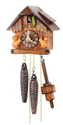 (One Day Movement Cuckoo Clock with Moving Squirrels 5.4 Inch)
