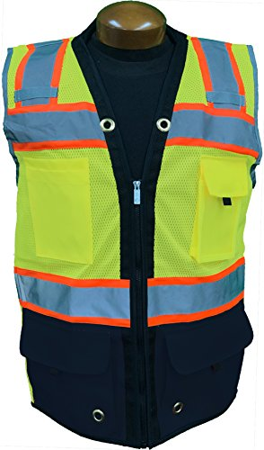 SHINE BRIGHT SV544NV | Premium Surveyor's High Visibility Safety Vest | 2 Tone Lime/Navy Blue with Reflective Strips |ANSI CLASS 2 |Soft and Breathable |Heavy Duty Zipper Front | Size XL