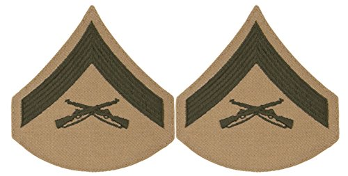 Green on Khaki USMC Chevrons - Lance Corporal - ()