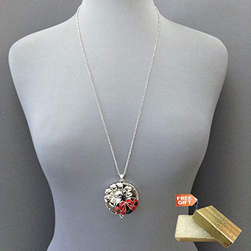 Long Antique Silver Chain Red Ladybug Magnifying Glass Locket Pendant Necklace Set For Women + Gold Cotton Filled Gift Box for Free