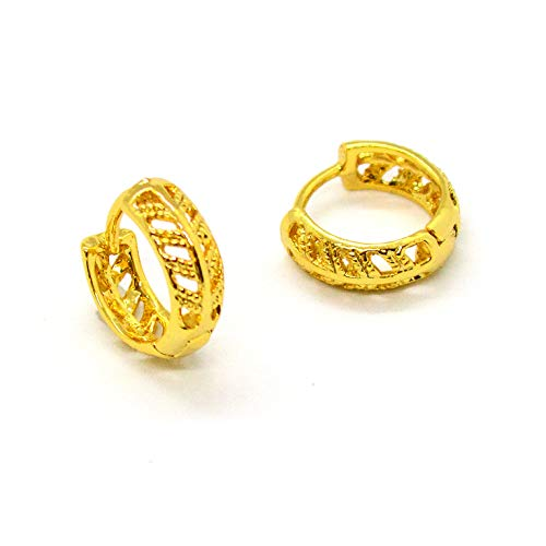 (1-2516-h10-2) Gold Overlay Leaf Design Huggie Hoops, 13 ()