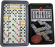 Double 6 Color Dot Dominoes Game Set - White Dominoes 28 Piece Set Toy in Tin Case - Six Dot Dominoes Match & Educational Ga