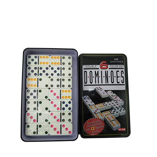 Double 6 Color Dot Dominoes Game Set - White Dominoes 28 Piece Set Toy in Tin Case - Six Dot Dominoes Match & Educational Game Double Six Dominoes Tin