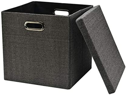 """Collapsible Storage Bins Cubes 13""""x13""""13"""", Foldable Heavy-Duty Burlap Fabric Storage Box Basket Containers with Lids - Large Organizer Removable Divider For Nursery Toys,Kids Room,Towels, Black 1-Pac"""