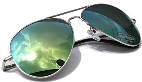 Aviator Fliegerbrille Pornobrille in vielen Farbkombinationen Klassische Pilotenbrille Unisex Sonnenbrille (aviator mirror green)
