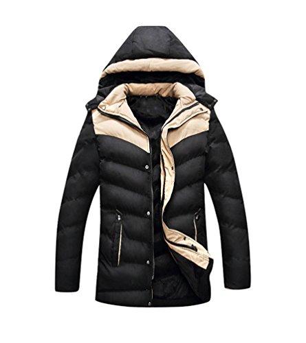 Coat Baymate Hoodie Men's Windbreaker Jacket Outwear Winter Warm Parka Black wrnraqXx