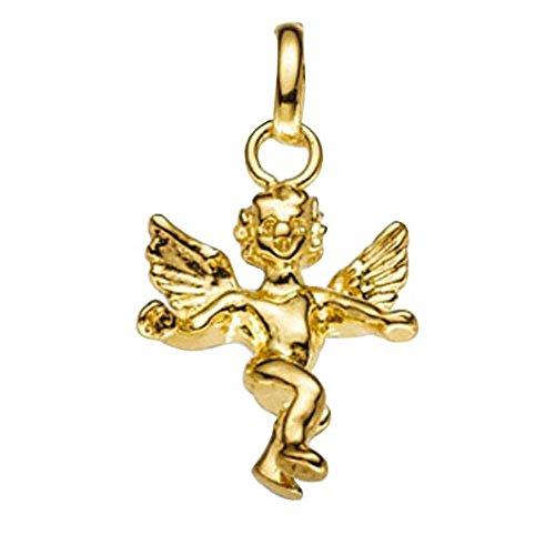 Pendentif ange en or jaune 585 goldanhänger poli pour femme