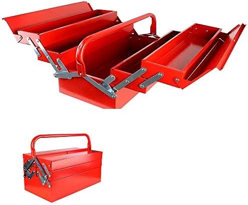 Saradaツールボックス 工具箱 収納BOX 3段 両開き 大型 工具 ケース 道具箱 工具収納 大容量 折り畳み式 取っ手付 [並行輸入品]