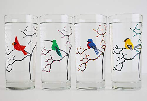 (The Four Seasons Birds - Set of 4 Painted Glasses, Mother's Day Gift, Mother's Day, Gift for Her )