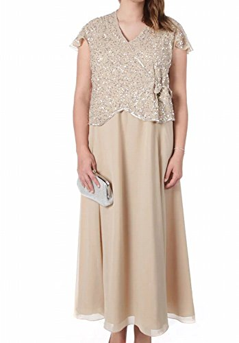J Kara Mother Of Bride Beaded Sequin Plus Gown Dress Beige 16W
