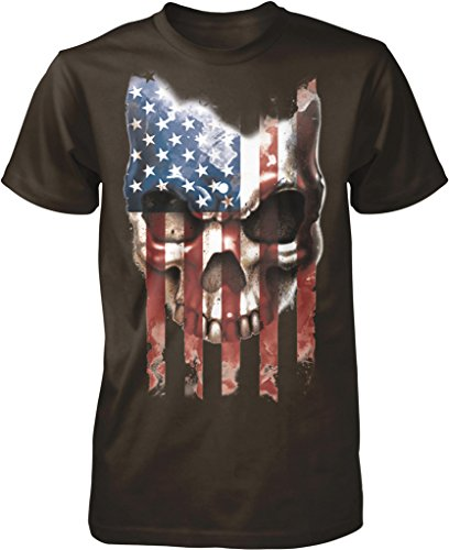 Skull with Distressed American Flag, Freedom, Sacrifice Men's T-shirt, NOFO Clothing Co. XXXL Brown - Drums Dark T-shirt