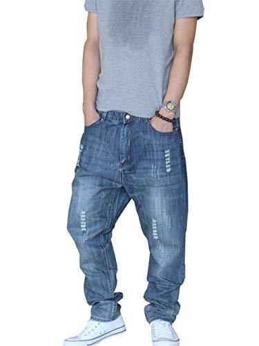 Pantalones Pantalones Mezclilla Recta Vaqueros Vaqueros De Mezclilla Chicos De Pantalones De Mezclilla Ajustados Clásico De Blau Vintage Vaqueros Pantalones Ocasionales Harem Pierna Pantalones EatwqtU