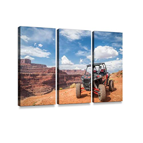 hicken Corner 4WD Trail Near Moab3 Pieces Print On Canvas Wall Artwork Modern Photography Home Decor Unique Pattern Stretched and Framed 3 Piece ()