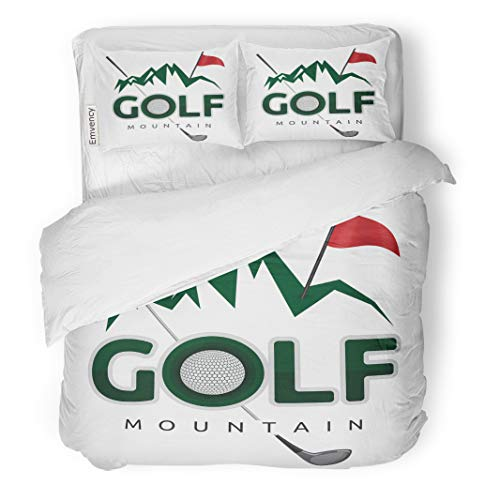 Emvency Decor Duvet Cover Set Full/Queen Size Ball Golf Mountain Cartoon Challenge Clip Clipart Closeup Club Competition 3 Piece Brushed Microfiber Fabric Print Bedding Set Cover -