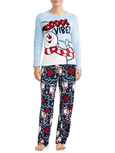 Frosty the Snowman Womens Fleece Plush Pajama Set Long Sleeve 2 pc (Blue, Small 4-6)