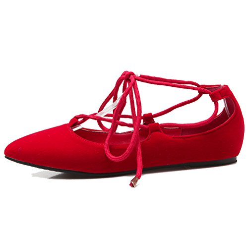 ENMAYER Womens Convenient Self Lace up Walking Dress Flats Red nliL8cvV5K