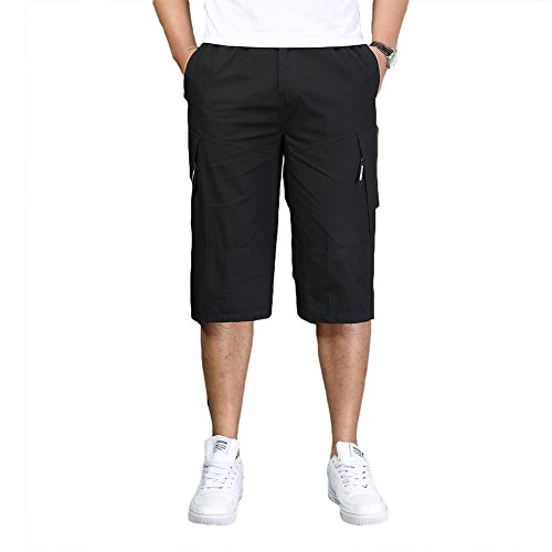 Adjustable Waist Cargo Shorts - Liveinu Men's Cargo Work Shorts Elastic Waist Casual Short Big and Tall Black 2XL