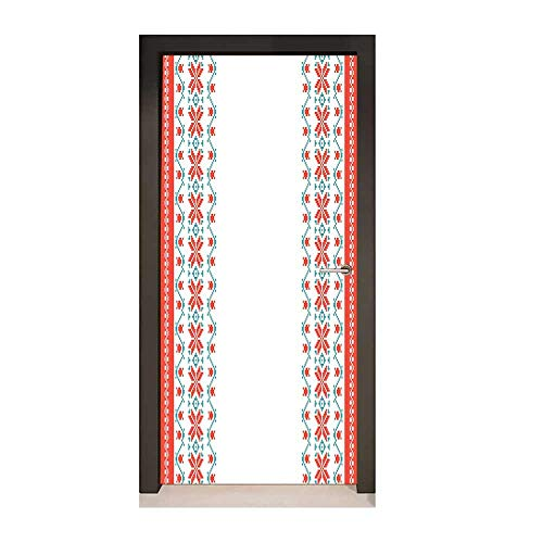 Nordic Door Sticker Embroidery Style Floral Petals and Buds Vertical Pattern Composition for Home Room Decoration Vermilion Turquoise White,W23.6xH78.7]()