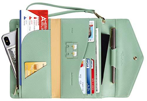 Travelambo Rfid Blocking Passport Holder Wallet & Travel Wallet Envelope Various Colors (CH Green ()