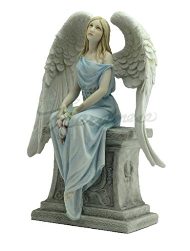 10.63 Inch Angel with Roses Sitting on The Tombstone - Light Color (Angel Tombstone)