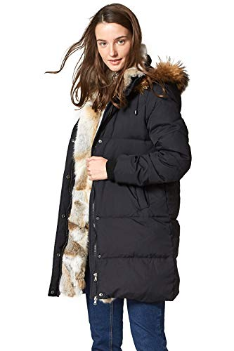 Escalier Women's Winter Down Coat with Real Raccoon Fur Hooded Parka Black XL