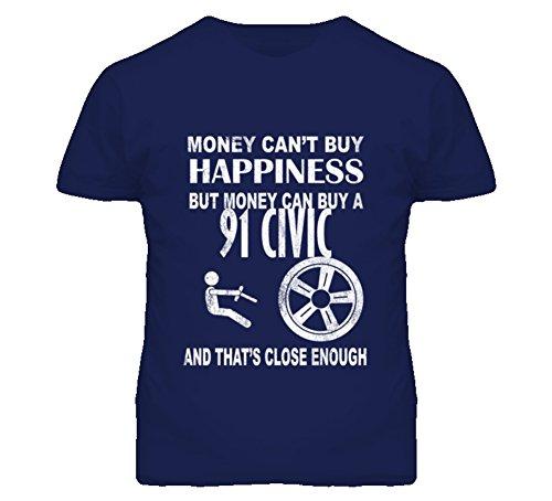 Money Cant Buy Happiness 1991 Honda Civic Dark Distressed T Shirt M Navy (1998 Honda Civic Ex Exhaust System Diagram)