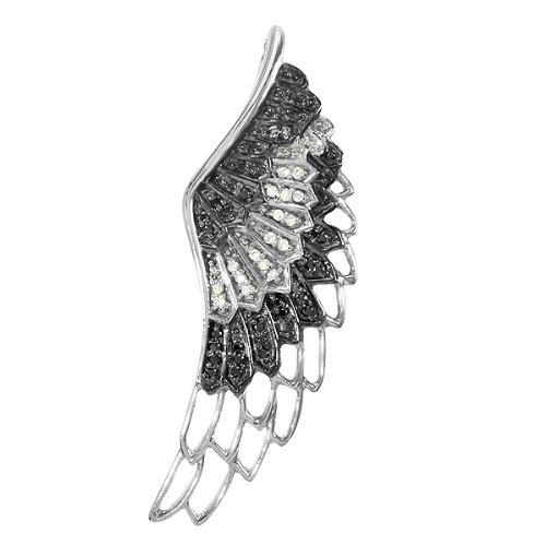0.33 Carat (ctw) Sterling Silver Black and White Diamond Angel Wing Feather Pendant 0.33 CT ()